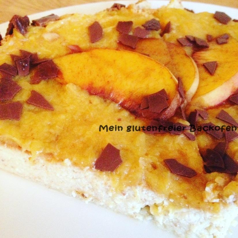 Käsekuchen mit Pfirsich-Topping
