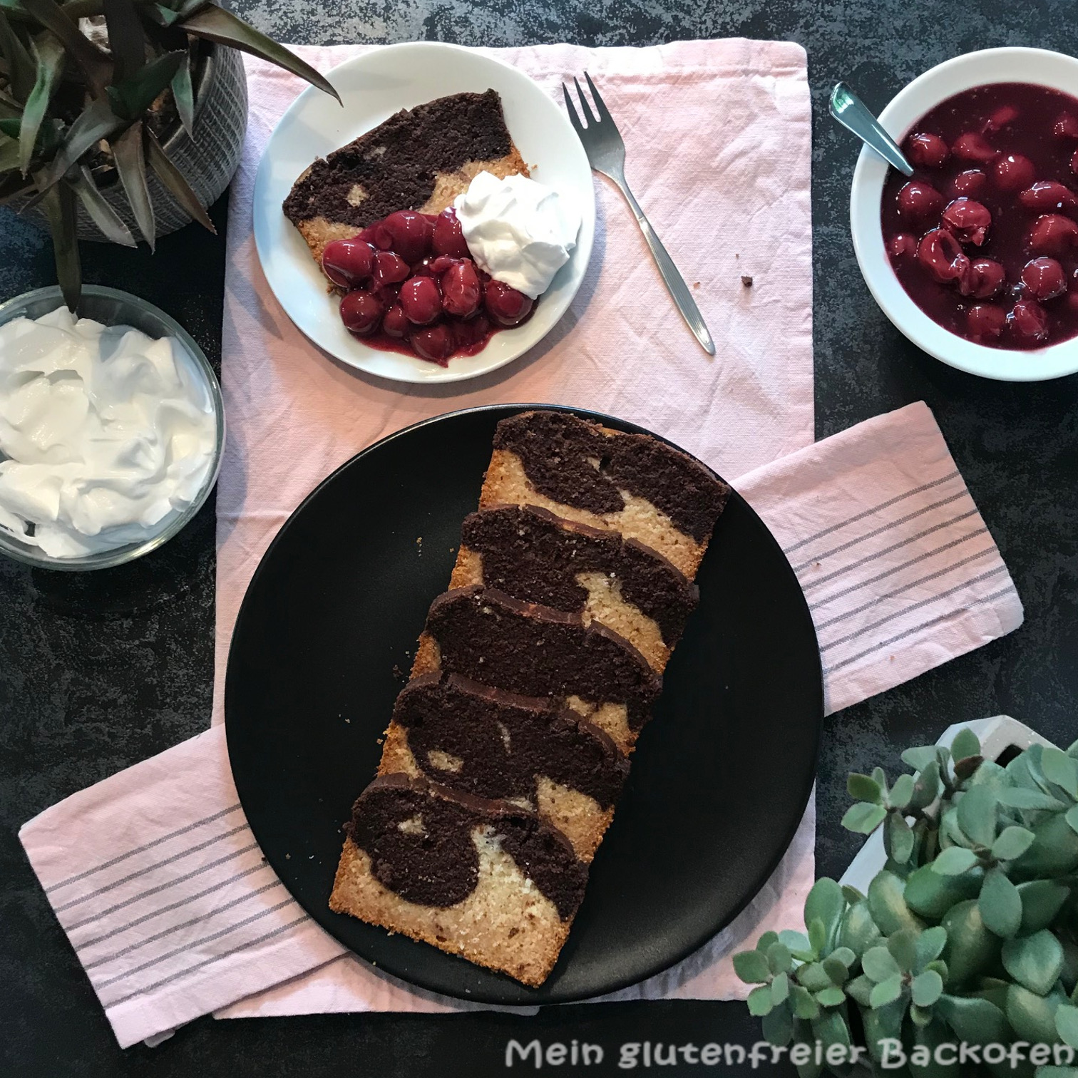 Marmorkuchen vegan, glutenfrei, fruktosefrei